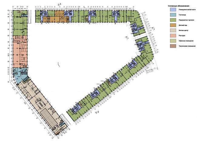"""Residential complex """"YE′S"""". Plan of the ground floor © Eugene Gerasimov and Partners"""