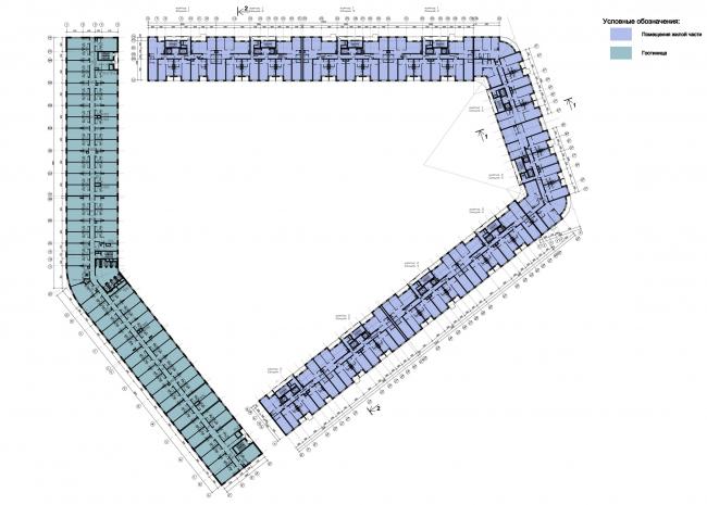 """План типового этажа жилого комплекса """"YE′S"""" © Евгений Герасимов и Партнеры"""