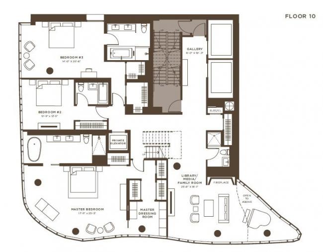 Жилой комплекс One Jackson Square. 1-й ярус пентхауса © KPF