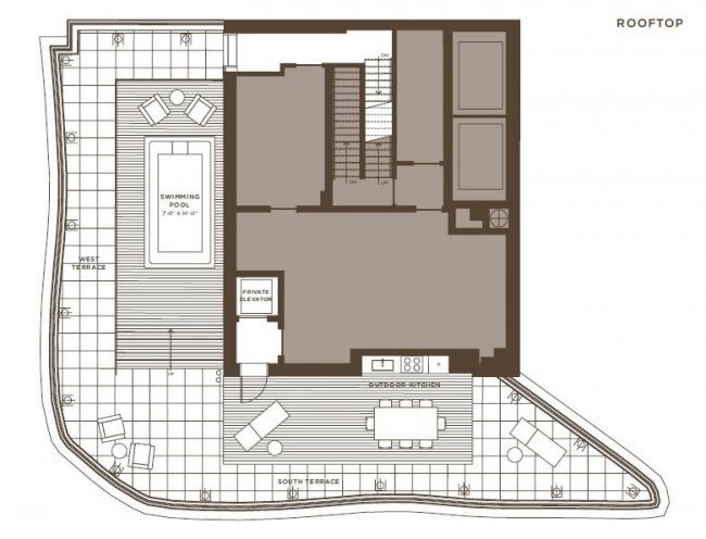 Жилой комплекс One Jackson Square. 3-й ярус пентхауса - крыша здания © KPF