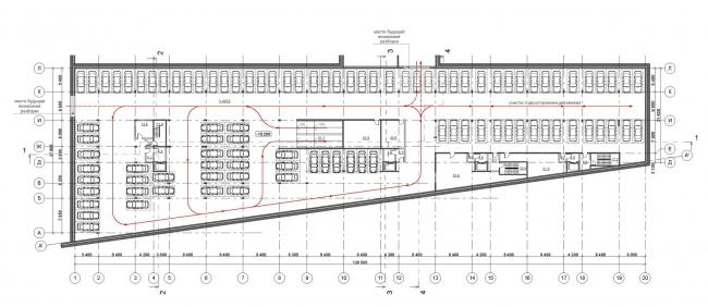 «Красный Октябрь». Концепция строительства двух жилых зданий на Болотной набережной. План -3 этажа © Сергей Скуратов ARCHITECTS