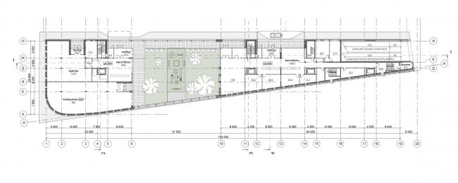«Красный Октябрь». Концепция строительства двух жилых зданий на Болотной набережной. План 1 этажа © Сергей Скуратов ARCHITECTS