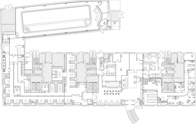 Дизайн проект  фитнес-центра «World Class». План 1 этажа © Архитектурная мастерская Сергея Эстрина