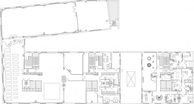 Дизайн проект  фитнес-центра «World Class». План 2 этажа © Архитектурная мастерская Сергея Эстрина