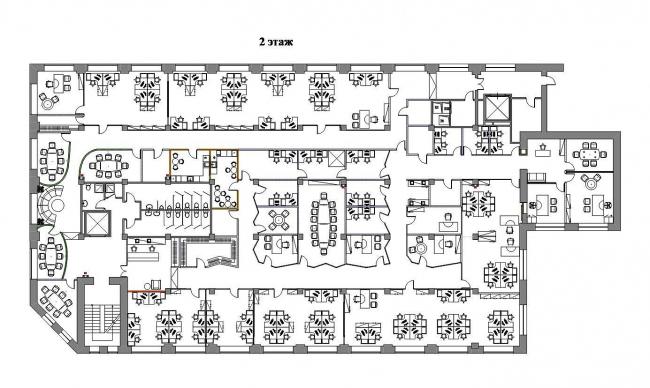 Офисные помещения компании «Проф-Медиа». План 2-го этажа © Архитектурная мастерская Сергея Эстрина