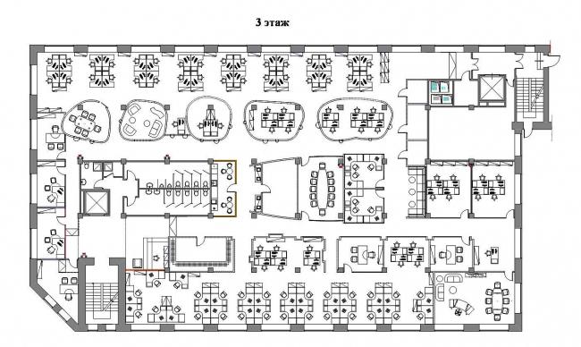 Офисные помещения компании «Проф-Медиа». План 3-го этажа © Архитектурная мастерская Сергея Эстрина