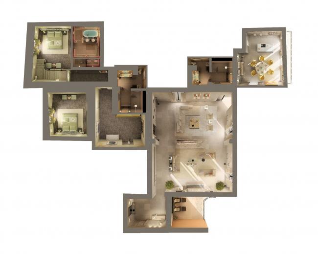 Дизайн интерьера частной квартиры. План апартаментов © Архитектурная мастерская Сергея Эстрина
