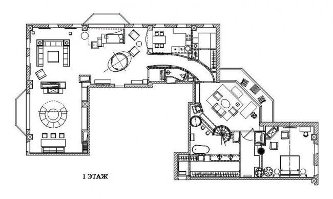 Дизайн интерьера двухэтажного пентхауса. План 1-го этажа. © Архитектурная мастерская Сергея Эстрина