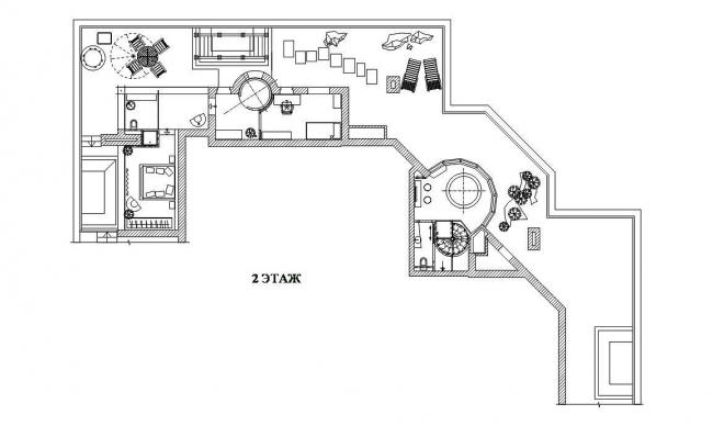 Дизайн интерьера двухэтажного пентхауса. План 2-го этажа © Архитектурная мастерская Сергея Эстрина
