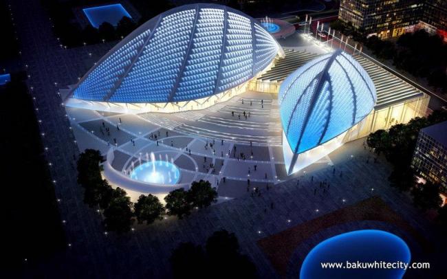 Район Baku White City. Концертный зал. Норман Фостер © Baku White City