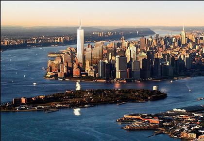 «Башня Свободы» (Проект июня 2005) среди застройки Нижнего Манхэттена