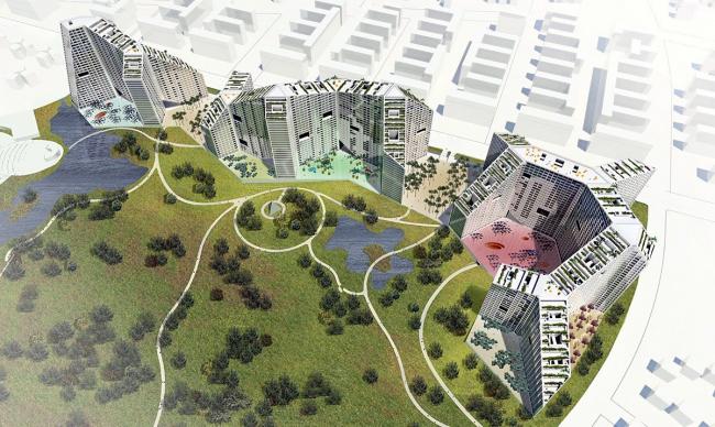 Жилой массив Amanora Apartment City - Future Towers. Общий вид © MVRDV