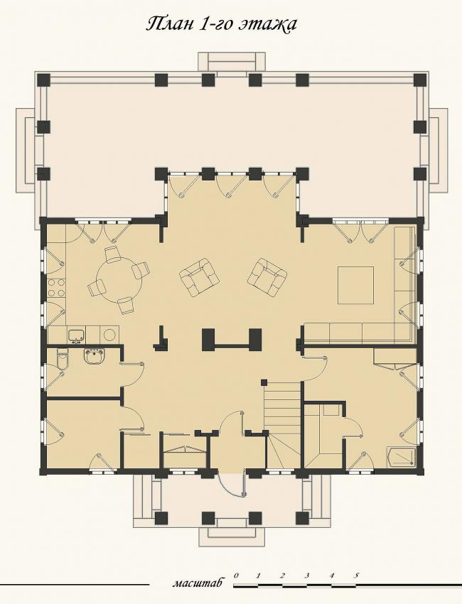 Жилой дом в Захарово. План 1 этажа. Реализация, 2010 © Архитектурное бюро «АСБ Карлсон & К»