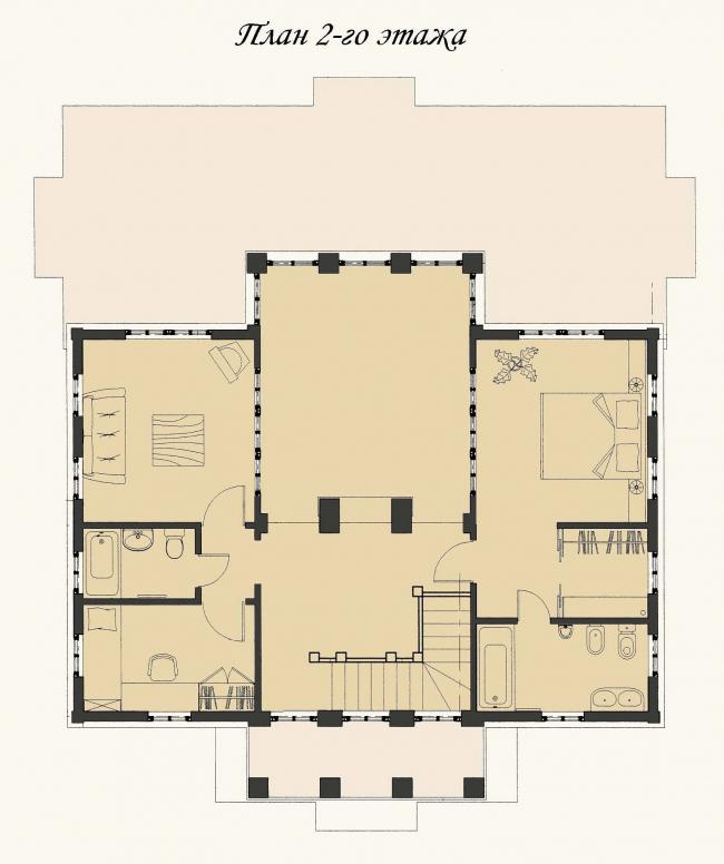 Жилой дом в Захарово. План 2-го этажа. Реализация, 2010 © Архитектурное бюро «АСБ Карлсон & К»