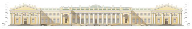 Проект реконструкции Александровского дворца. Главный фасад (проект реставрации)