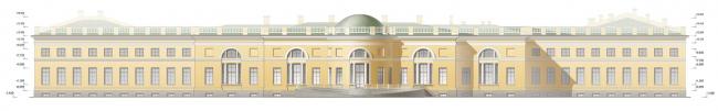 Проект реконструкции Александровского дворца. Садовый фасад (проект реставрации)