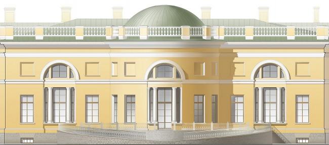 Проект реконструкции Александровского дворца. Садовый фасад (фрагмент)