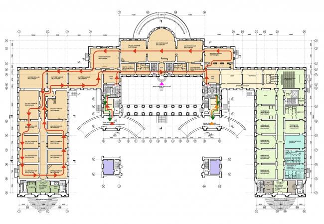 Проект реконструкции Александровского дворца. План 1 этажа