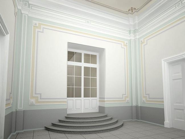 Проект реконструкции Александровского дворца. Реконструкция габаритов вестибюля © Студия 44