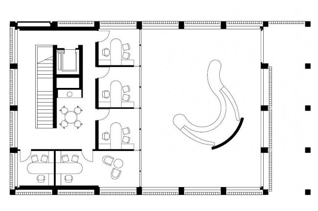 Штаб-квартира банка BMCE. План 2-го этажа © Foster + Partners