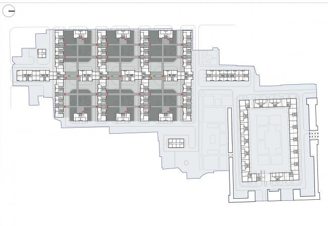 Схема второго этажа на отметке кровли стилобата. Жилой комплекс комфорт-класса, Санкт-Петербург © ТПО «Резерв»