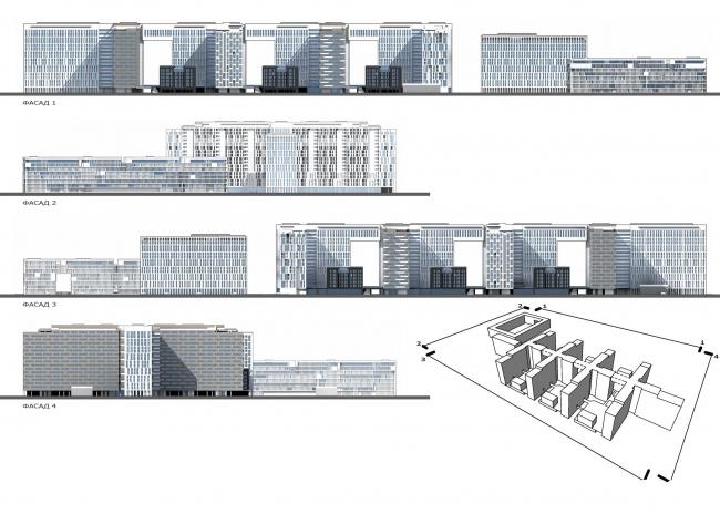 Схема фасадов. Жилой комплекс комфорт-класса, Санкт-Петербург © ТПО «Резерв»