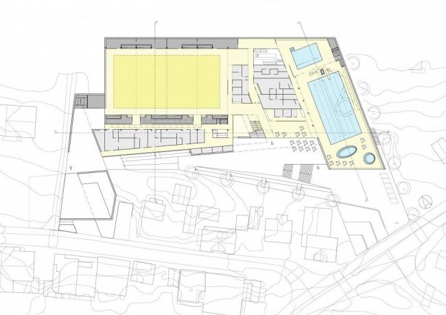 Стадион Arena Ulstein. План уровня 0 © Lund+Slaatto & Nils Tveit