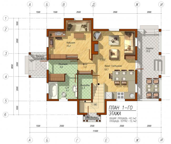 Дачный домик в Дорохово. План 1-го этажа © АСБ Карлсон & К