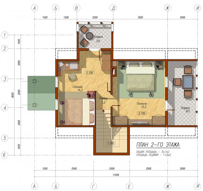 Дачный домик в Дорохово. План 2-го этажа © АСБ Карлсон & К