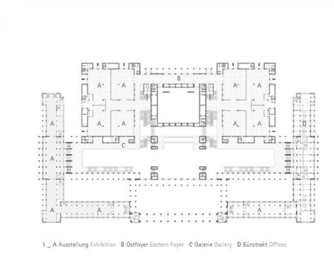 Национальный музей Китая. План уровня выставочных залов © gmp