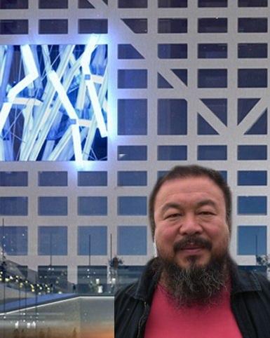 Ай Вэйвэй на фоне The Light Pavilion в Чэнду. Фото с сайта http://www.worldarchitecturenews.com