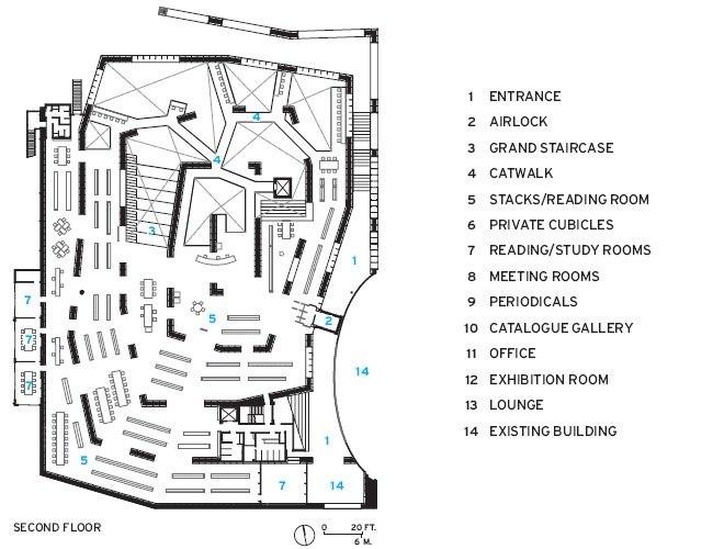 Библиотека Университета искусств Мусасино. План 1-го этажа © Sou Fujimoto. Изображение с сайта archrecord.com