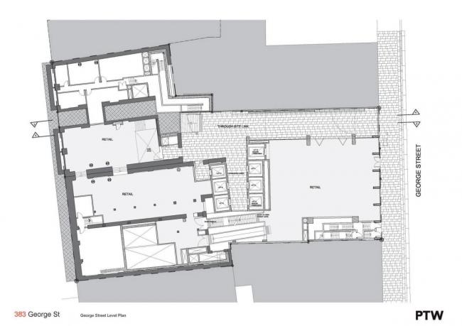 "Комплекс ""383 George Street"". 1-й этаж© PTW Architects"