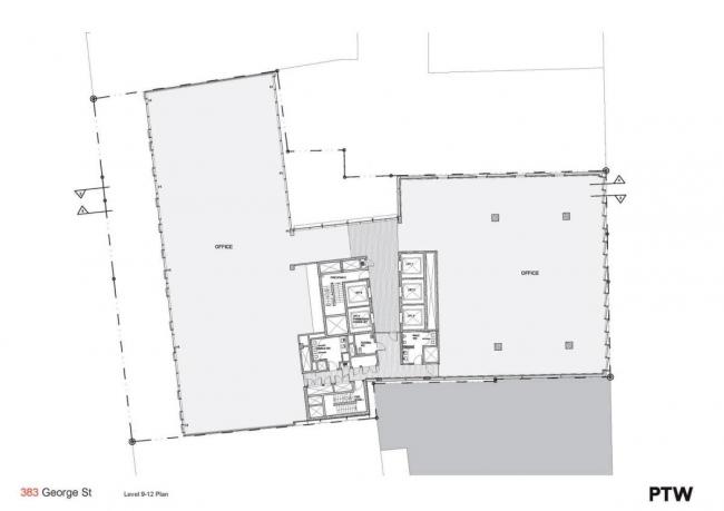 "Комплекс ""383 George Street"". План типового этажа офисного корпуса © PTW Architects"