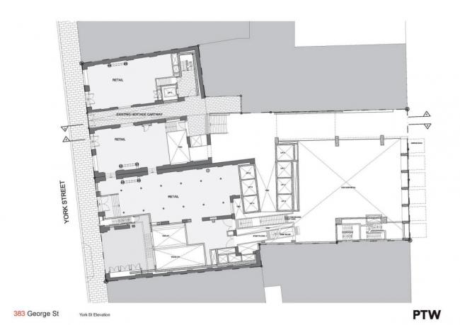 "Комплекс ""383 George Street"". План по уровню улицы Йорк-Стрит © PTW Architects"