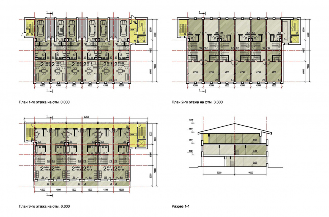 Проект жилой малоэтажной застройки близ села Ульянково. Поэтажные планы и разрез