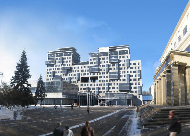 Объем спортивного комплекса на фоне нового общежития РГСУ, также спроектированного ПТАМ Ю.Виссарионова