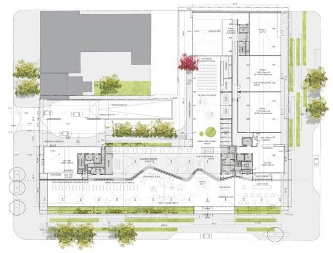Библиотека района Вест-Энд. План 1-го этажа © Eastbanc