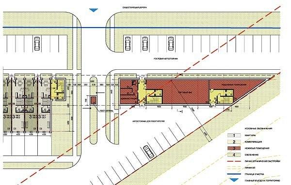 Проект жилой малоэтажной застройки близ села Ульянково. Административно-торговое здание. План 1 этажа