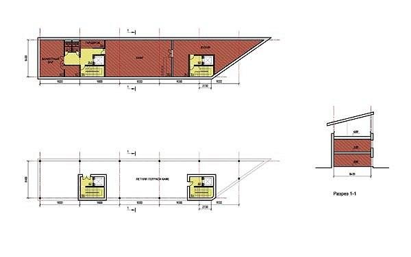 Проект жилой малоэтажной застройки близ села Ульянково. Административно-торговое здание. Планы 2 и 3 этажей