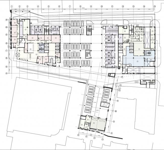 Новое административное здание компании «ЛУКОЙЛ». План 1-го этажа © Архитектурная мастерская Павла Андреева