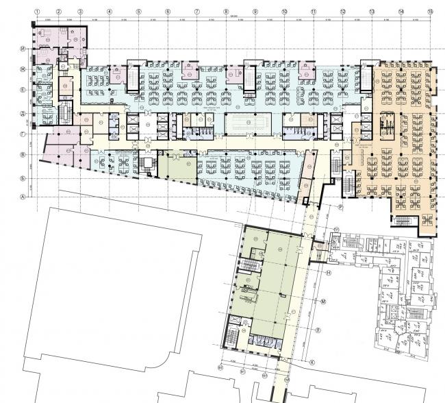 Новое административное здание компании «ЛУКОЙЛ». План 3-го этажа © Архитектурная мастерская Павла Андреева