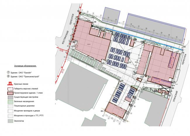 Новое административное здание компании «ЛУКОЙЛ». Генеральный план © Архитектурная мастерская Павла Андреева
