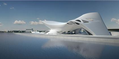 Средиземноморский музей культуры нураге и современного искусства. Вид на музей с моря в направлении города