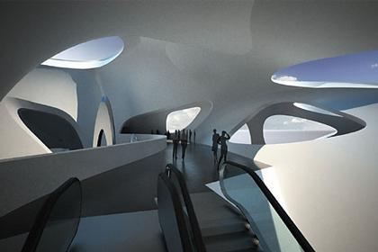 Средиземноморский музей культуры нураге и современного искусства. Эскалаторы, соединяющие зону кафе с садом скульптур