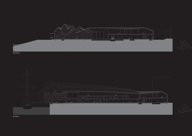 Музей Риверсайд. Разрез © Zaha Hadid architects