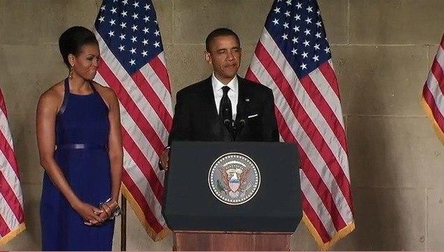 Президент США Барак Обама выступает с речью на церемонии вручения Притцкеровской премии в Белом доме. 2 июня 2011