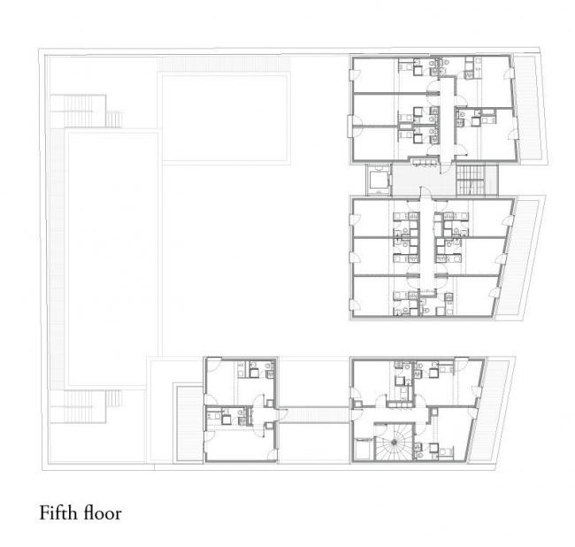 Студенческое общежитие в Париже. План 5-го этажа © LAN Architecture