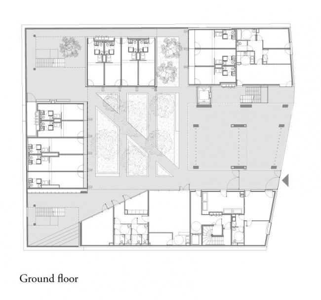 Студенческое общежитие в Париже. План 1-го этажа © LAN Architecture