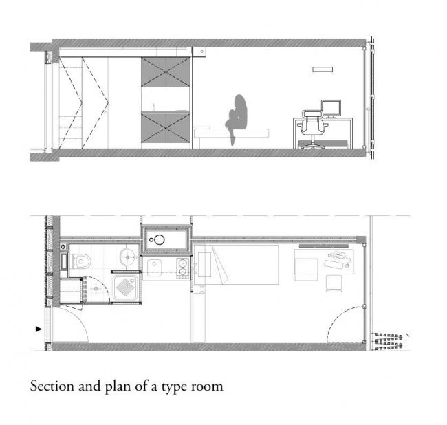 Студенческое общежитие в Париже. Типовая комната © LAN Architecture
